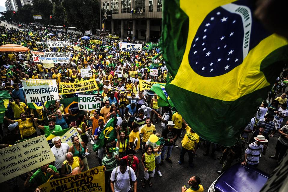 Thousands took to the streets in Rio de Janeiro in March to protest alleged corruption involving executives of state-controlled oil company Petrobras and politicians. PHOTO: FABIO TEIXEIRA/ZUMA PRESS