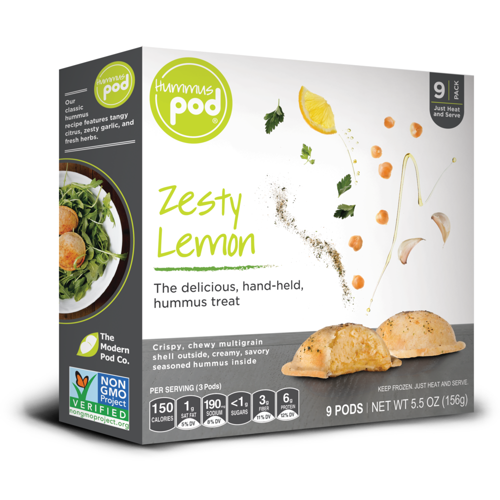 Zesty Lemon Hummus Pods. The delicious healthy hummus treat.