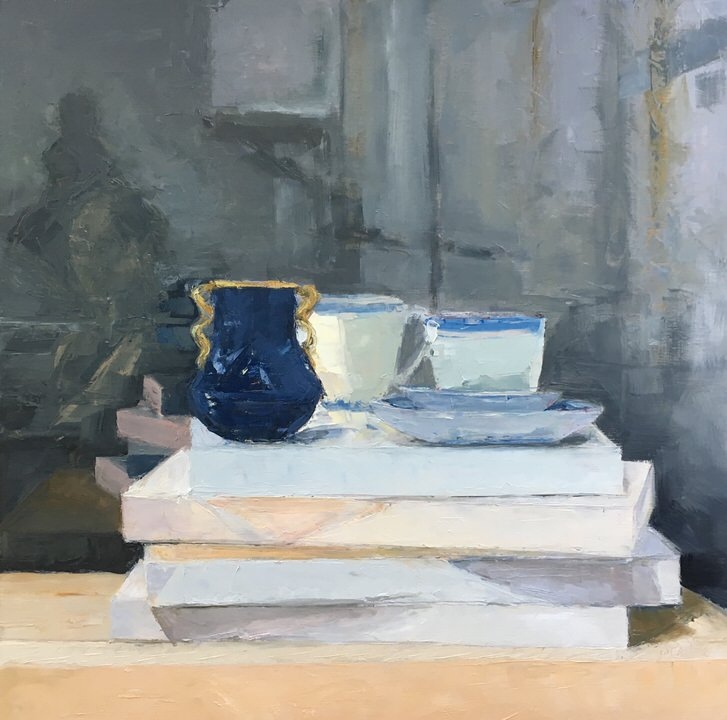 Prussian Blue Vessel  Oil on cradled panel  18 x 18 inches  2016  Private Collection