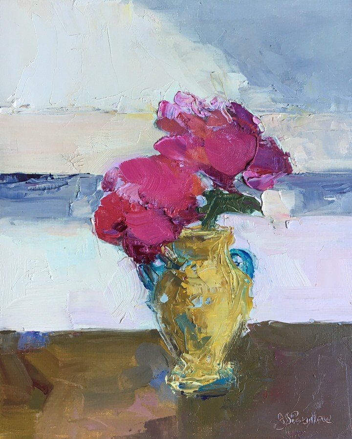 Peonies in Yellow Turquoise Vase
