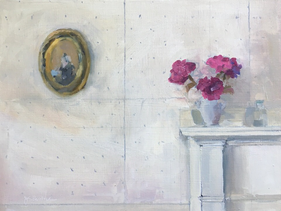 """18th Annual Frances N. Roddy Competition at Concord Art """"Jaffrey Cottage - Sitting Room Wall"""" Roddy Prize  Juried by Ali Ringenburg, Sloane Merrill Gallery, Boston MA  """"Quiet, reflective, still-life perfection. I love seeing the underdrawing - the process. I get lost in the tones of the wall."""" September 14, 2017"""