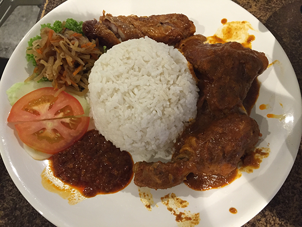 Nyonya rice was absolutely delicious! Chicken, duck, sambal and rice. It's a fusion food which combines the best of Malay and Chinese cooking!