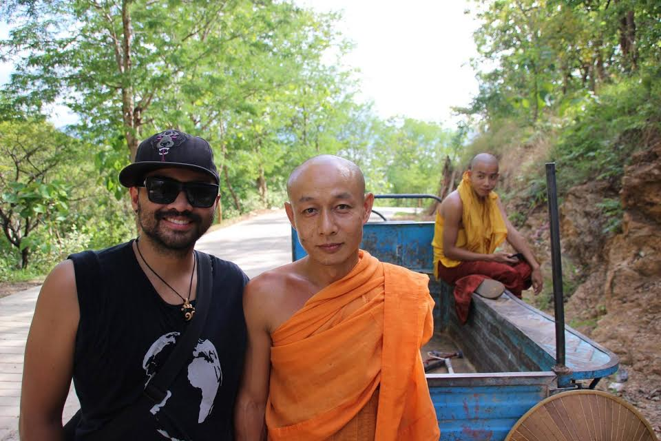 Picture of Mike with a monk.