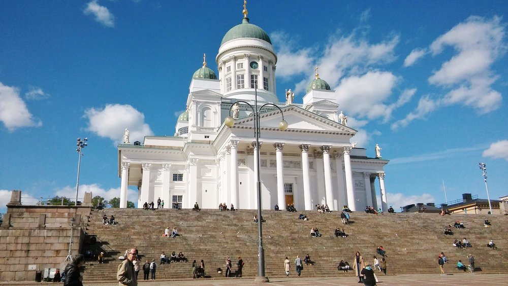The landmark of Finland's capital city - Helsinki Cathedral. Spot the people sitting on the stairs!