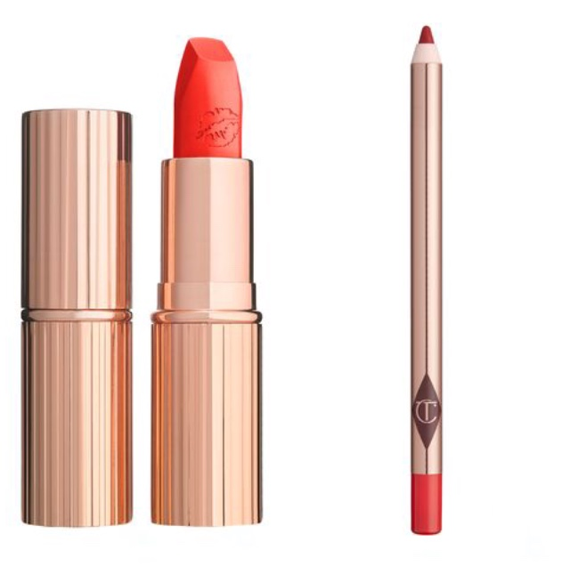 .  - LipsCharlotte Tilbury, Tell Laura red lipstick chic cool orangey red lipCharlotte Tilbury, Kiss & Tell lip liner