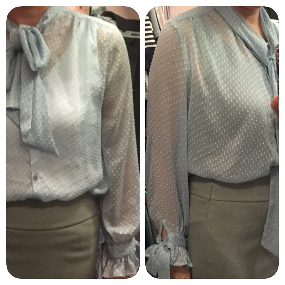 While you are trying on, experiment a little. These pictures show the difference in wearing a white versus a gray tank top underneath this sheer blouse. I prefer the gray.