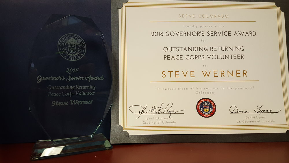 2016 Governor's Service Award for Outstanding Returning Peace Corps Volunteer