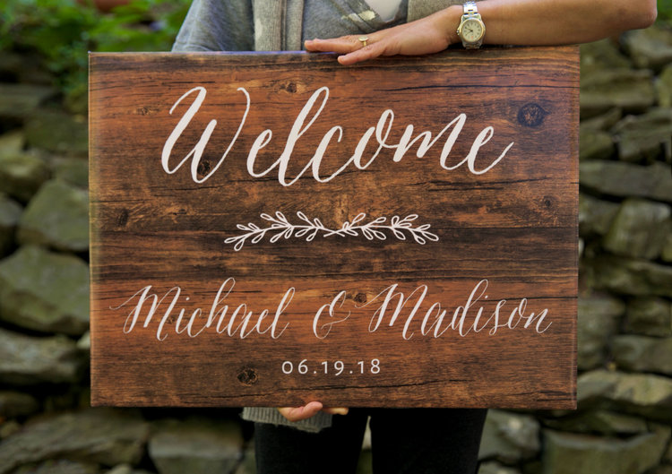 How to create an elegant wedding faux wood sign for under 10 if you want to hang this sign you can just add a string or ribbon we used twine to go with the rustic wedding look and taped it down before we junglespirit Choice Image