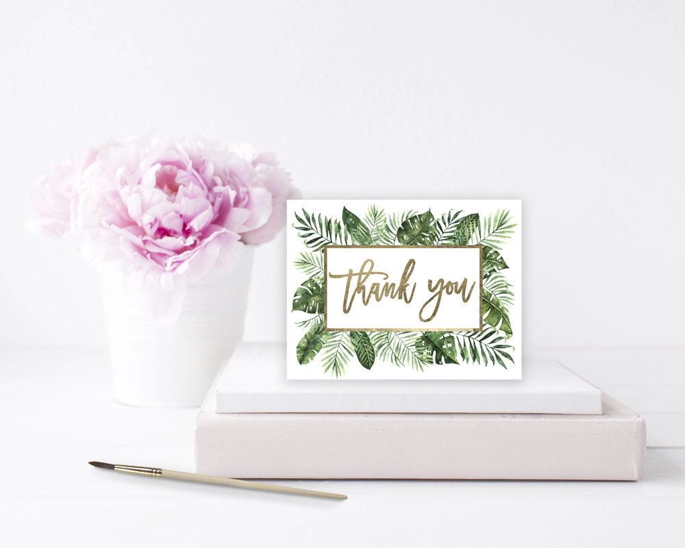 Express your gratitude in style! Say thank you to your wonderful guests with this tropical thank you card template with gold hand lettering.