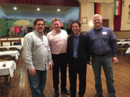 David O at the Evansville Hasenpfeffer with Trent Van Haaften, Bob Deig, and Eric Williams