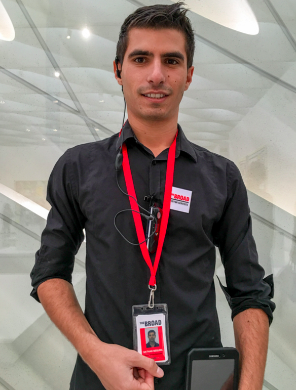 Nathan Segura, Visitor Services Associate, at The Broad museum in downtown Los Angeles on October 15, 2015. Prior to working at The Broad, Segura spent 2 years studying art at Santa Monica College.
