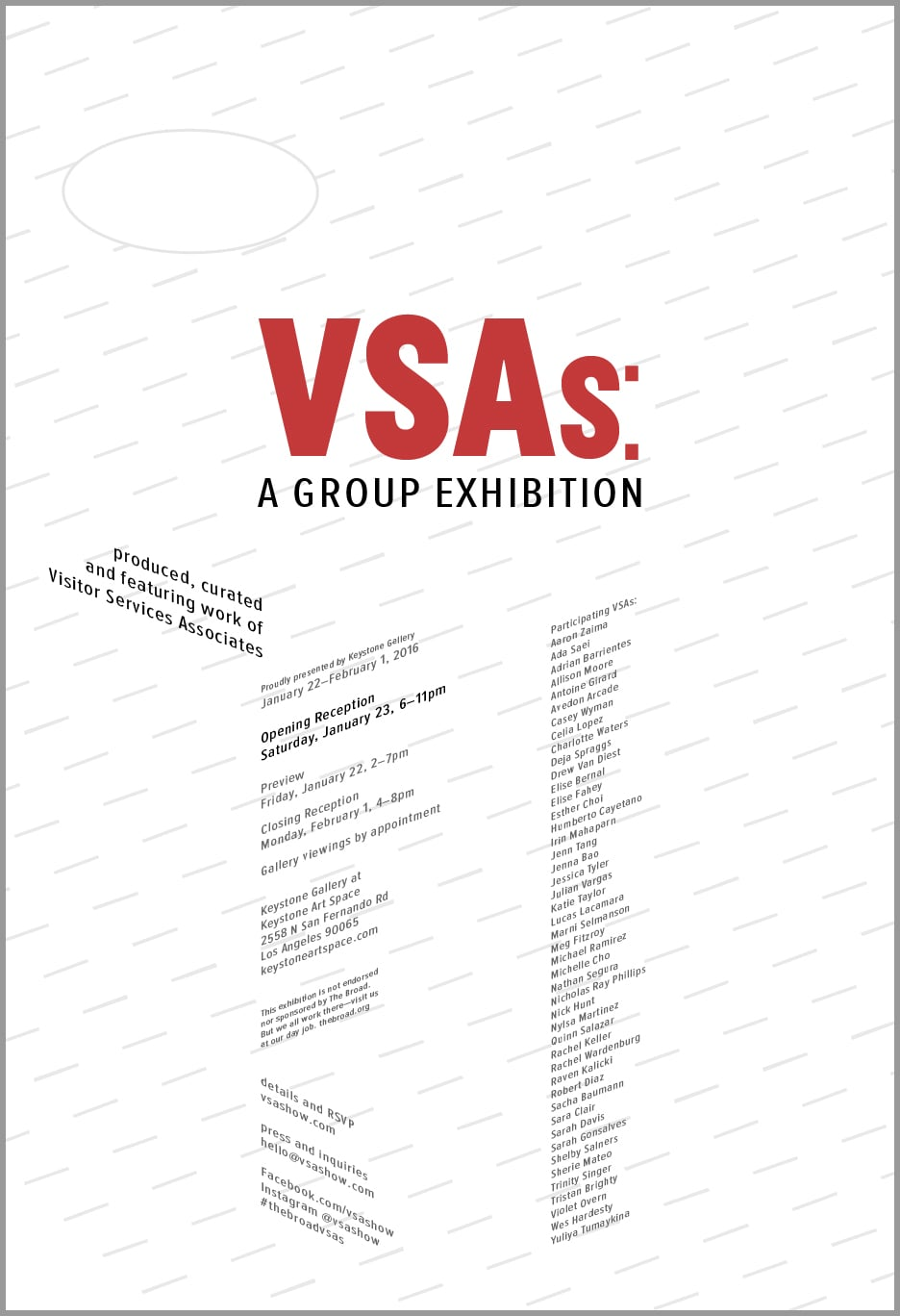 VSAs: A Group Exhibition at Keystone Art Space, January 22–February 1, 2016.