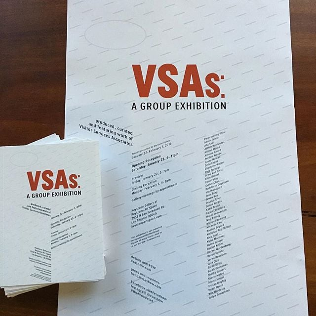 Picked up posters and cards from the printer. #official #thebroadvsas #vsagroupshow #herewego