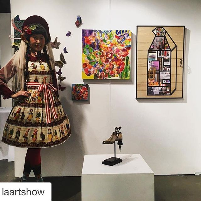 Our art star #JennaBao @laartshow! Come see one last look of her pieces at our Closing on Monday @keystoneartla 4-8pm ・・・ Fashion forward always at the LA Art Show! #fashion #style #ootd #losangeles #events #dtla #westcoast #art #creative #design #city #downtown #la #laartshow #laartshow2016 #photooftheday #instagood #publicart #travel #local #igers #painting #contemporaryart