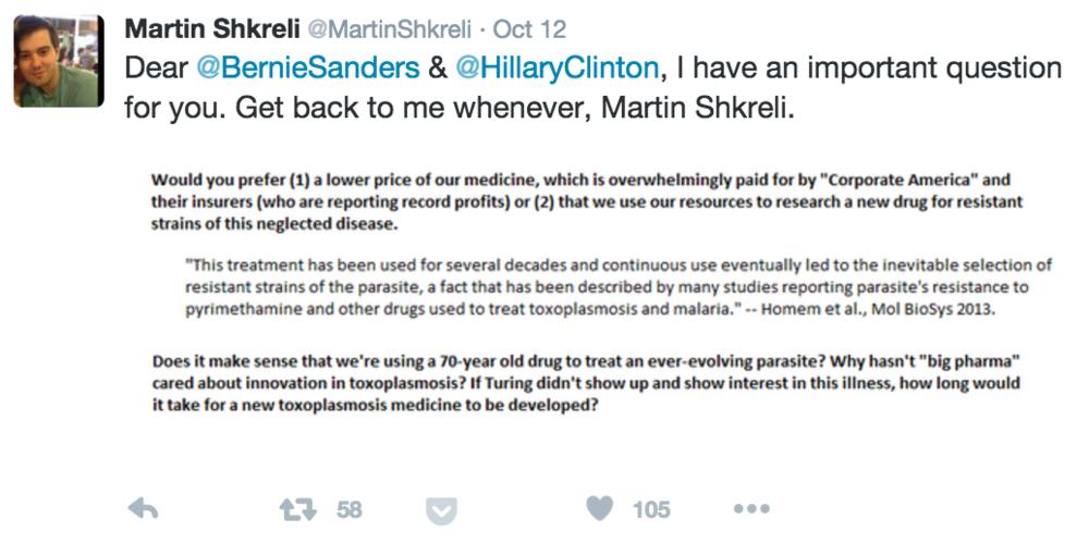 Martin Shkreli Hitting Back