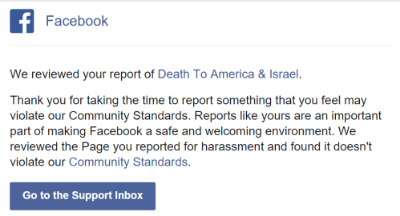 Facebook refuses to remove their group, Death To America & Israel est. 2013.