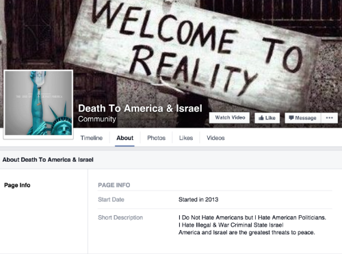 Facebook Group, Death To America & Israel. Established in 2013.
