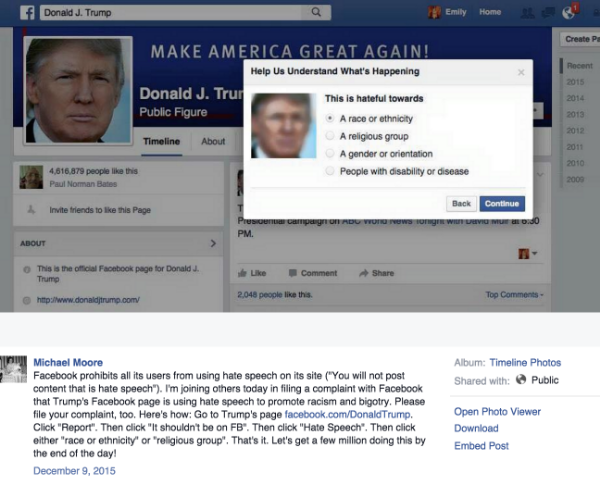 Michael Moore calls into action censoring Donald Trump's Facebook presence.