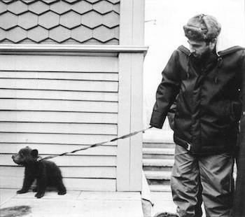 Fidel Castro with a bear cub gifted to him by Siberian geologists when visiting the USSR in 1967.