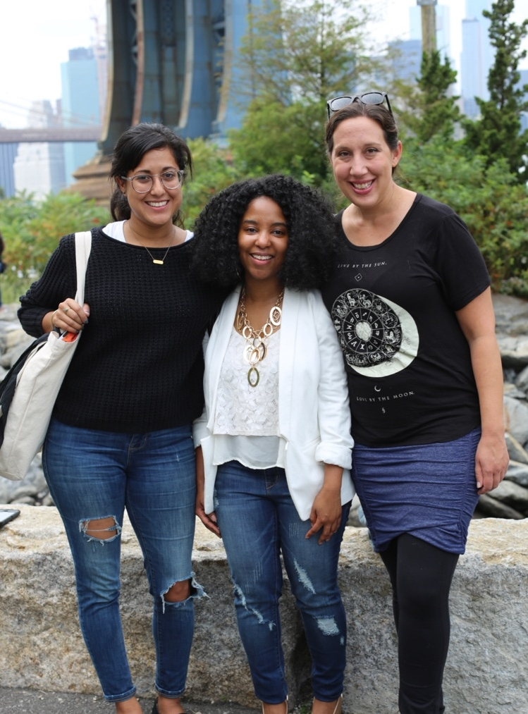 Stephanie Echeveste (Founder & NYC Chapter Leader), Shenneth Dove-Morse (Washington, DC Chapter Leader), and Nicole Schroeder (Southern California Chapter Leader) in Brooklyn for the Distill Creative Chapter Leader Retreat
