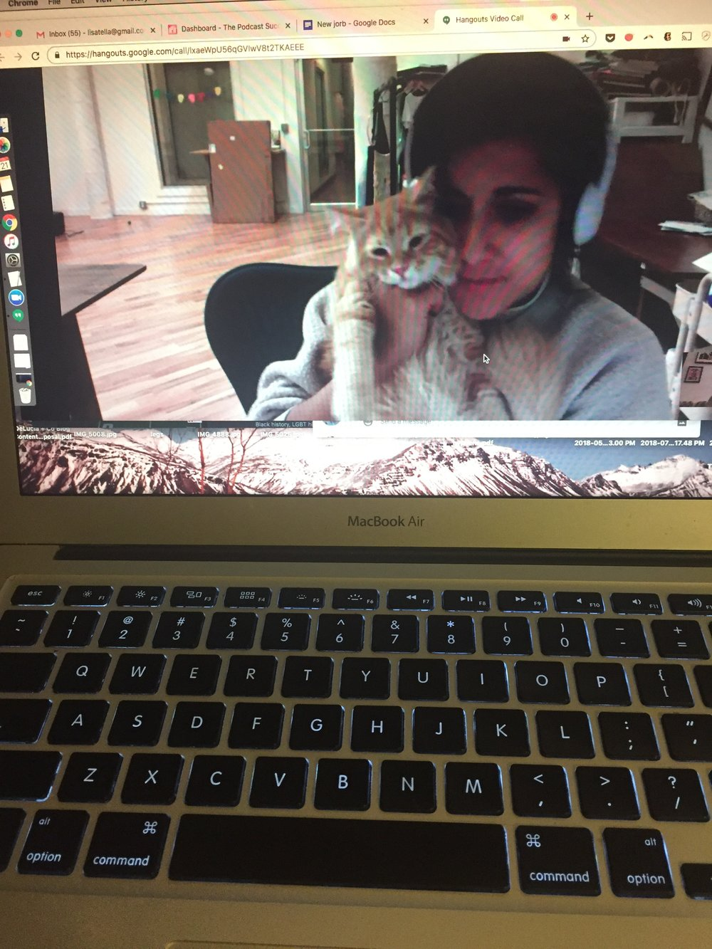 If you are lucky, Kiké (Stephanie's cat) will make a special appearance on your Google Hangout. Photo by Writer/Editor/Producer  Lisa Rowan  during a video call.