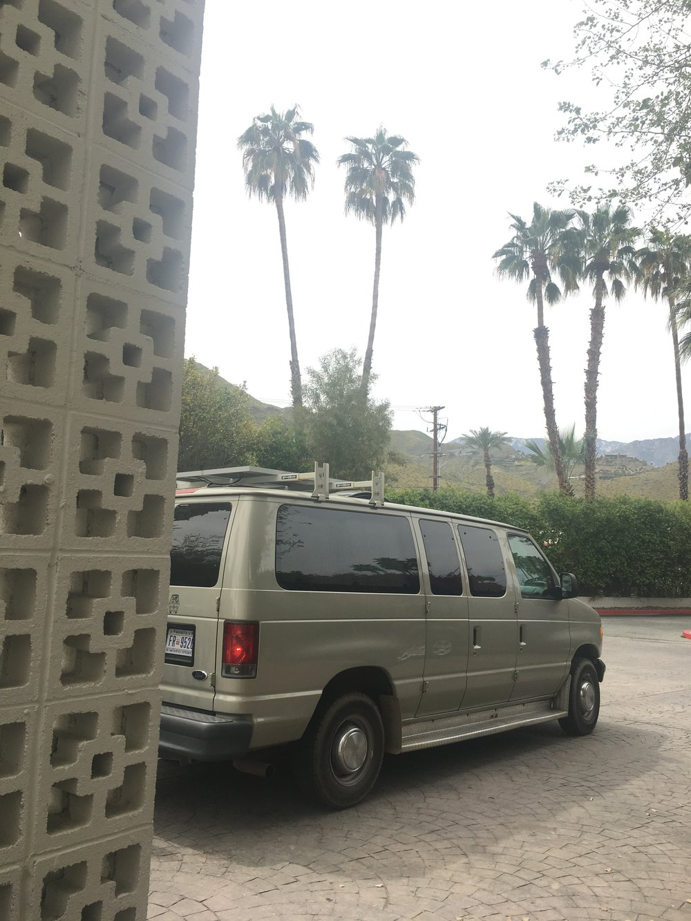 Valerie's  Van dropping me off at The Parker, Palm Springs