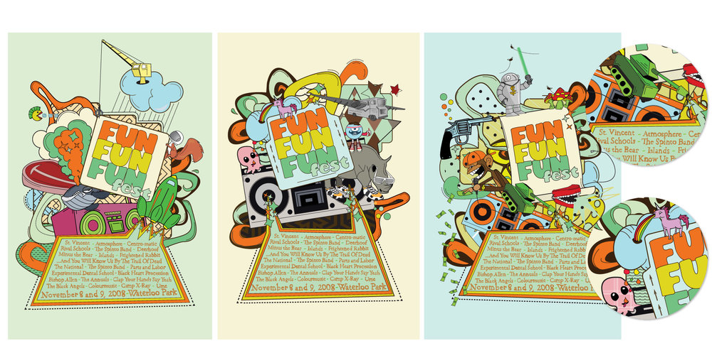 "FUN FUN FUN Fest Poster Concepts  Concept fusing the many concepts and ideas of ""fun"" completely designed and illustrated using Adobe software."