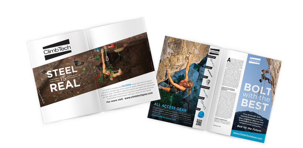 ClimbTech Gear  Various marketing materials created for ClimbTech Gear, a rock climbing and safety gear manufacturer.