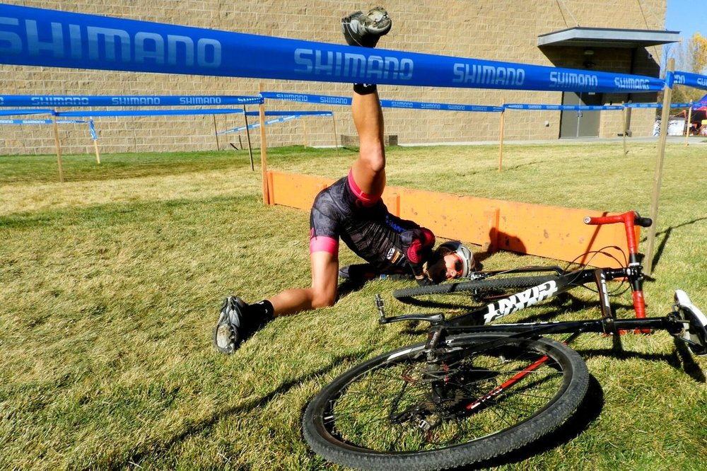 CBCG Athlete (and your author) Amy VT crashing out of a cyclocross race. Photo courtesy of Jenny Greeve