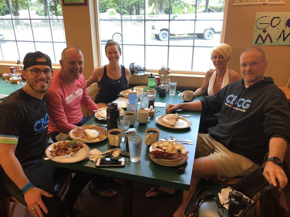 #CBCGathletes Sebastian Pastore, Doris Steere, Devin Salinas, and #CBCGcamper Jeff Rippey pre-Ironman 70.3 Coeur d'Alene 2018