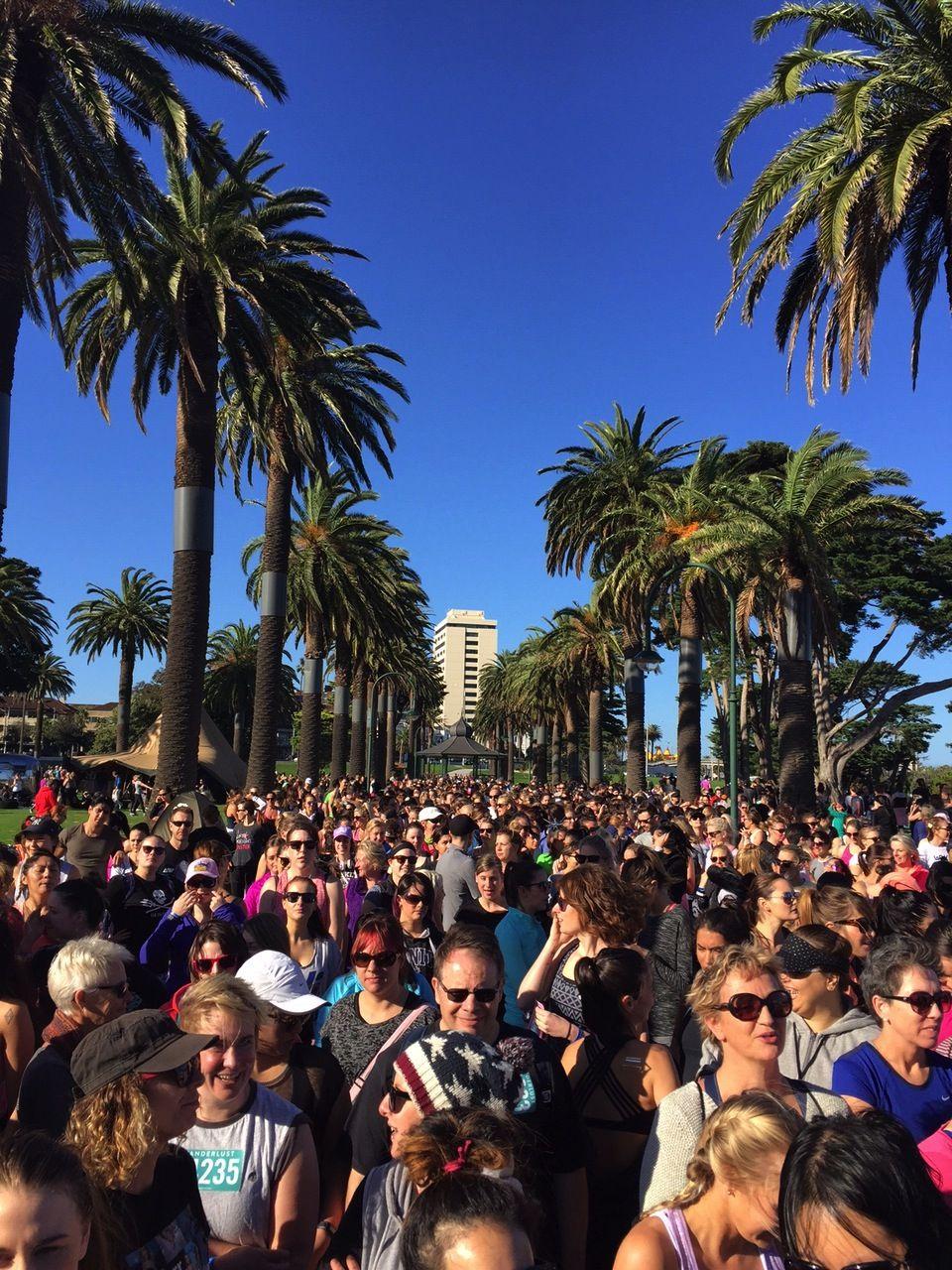 Start line of the 5K run along the beach. Bonus: no hills!