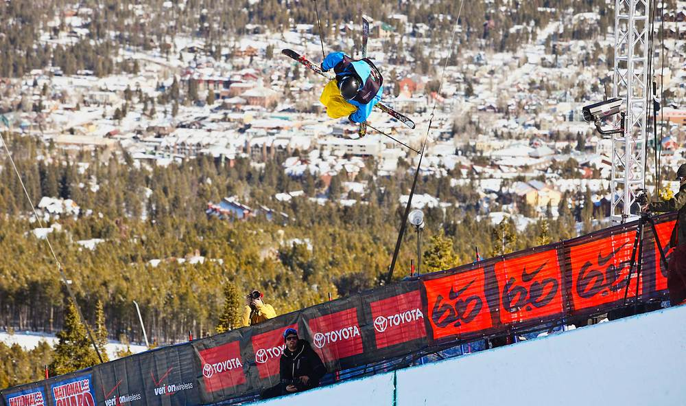 An athlete a the halfpipe competition and the Breckenridge Dew Tour.