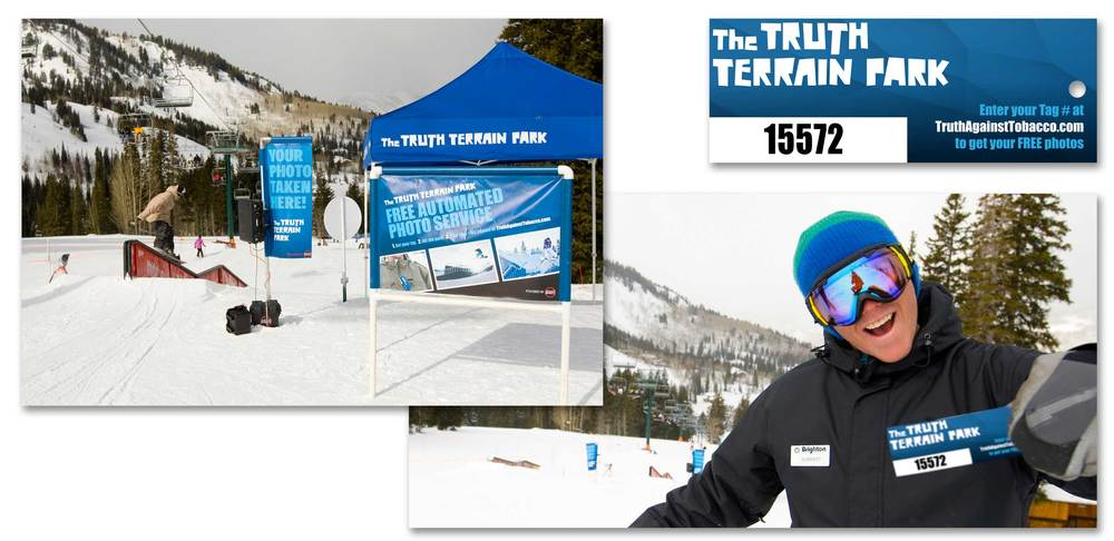 A Brighton terrain park rider receives their sponsor branded RFID photo tag.