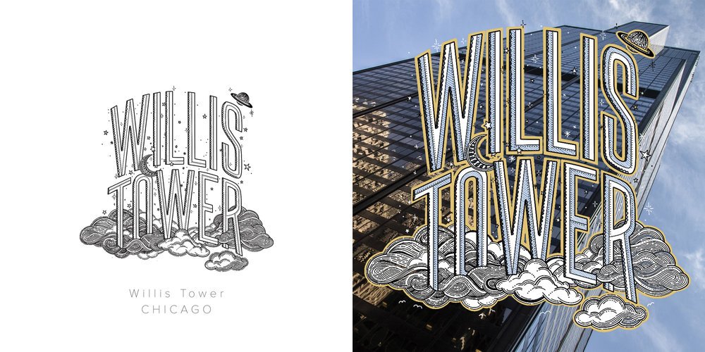 Willis Tower original drawing and colored drawing featuring photography by Rio Chavez. Inspired by the idea of being up in the clouds.