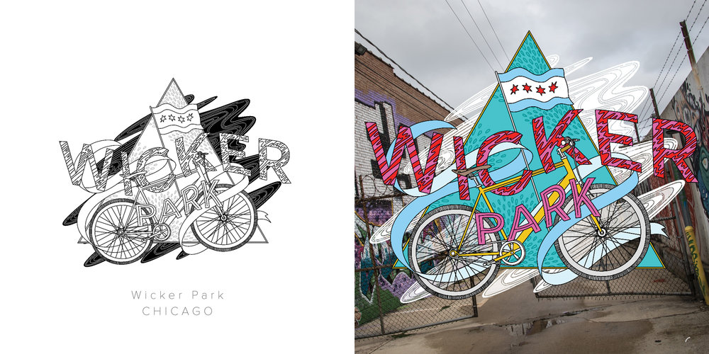 Wicker Park original drawing and colored drawing featuring photography by Rio Chavez. Inspired by the colors and murals in the neighborhood, and it's immense city pride.