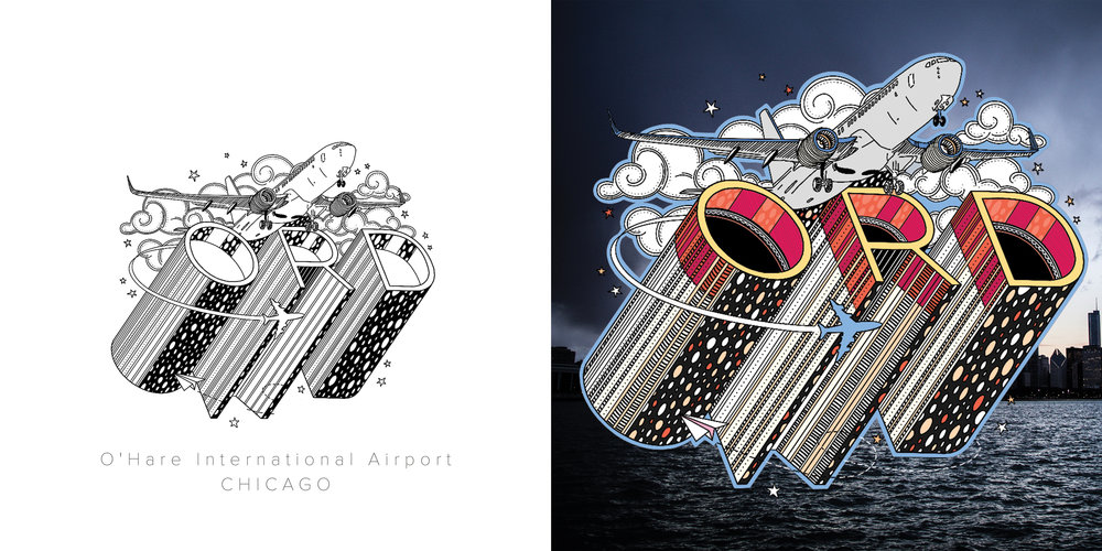 O'Hare original drawing and colored drawing featuring photography by Rio Chavez. Inspired by the idea of lifting off and exploring new places.