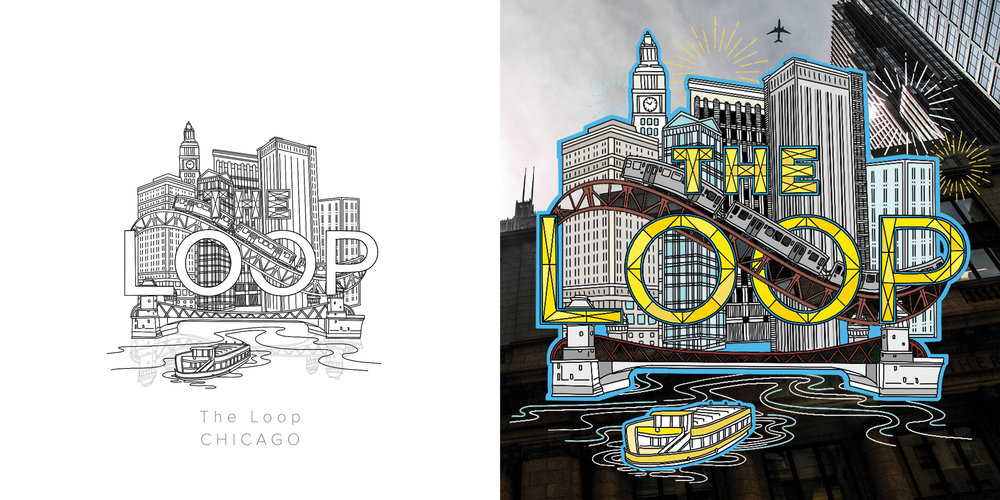 The Loop original drawing and colored drawing featuring photography by Rio Chavez. Inspired by the hustle and bustle of transportation and the patterns created by buildings.