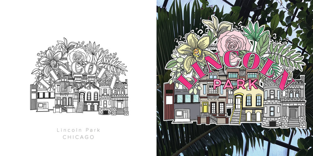 Lincoln Park original drawing and colored drawing. Inspired by the beautiful mix of architecture and the Lincoln Park Conservatory. A little leopard print for the Lincoln Park Zoo!
