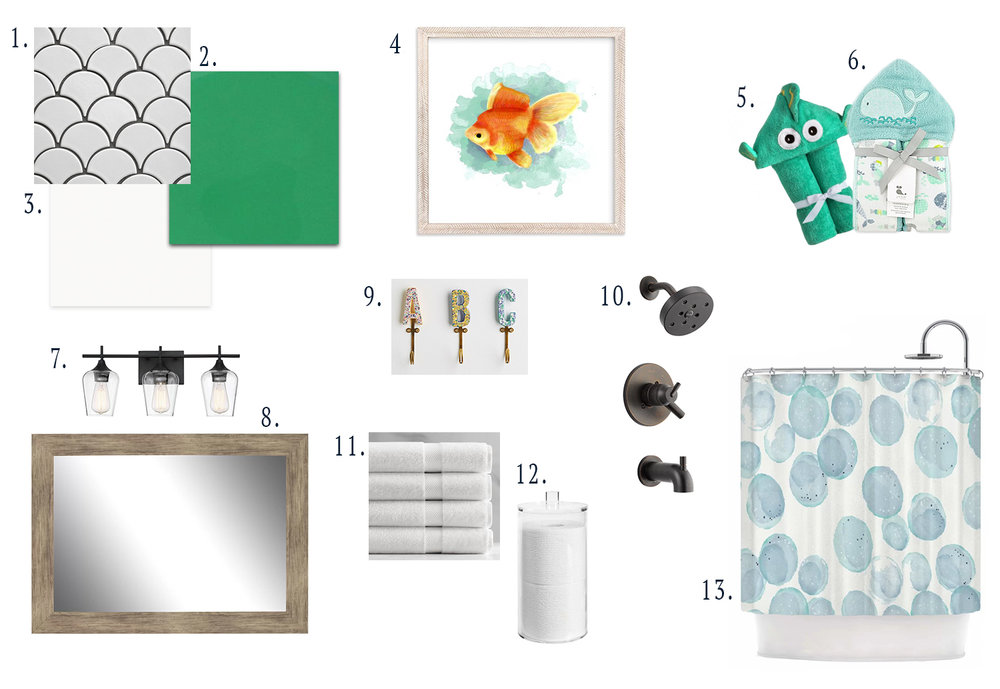 1. scallop tile   2. benjamin moore kelly green  3. benjamin moore classic gray  4. fish art  5. fish hooded towel  6. whale hooded towel  7. vanity light  8. vanity mirror  9. wall hooks  10. shower hardware  11. white towels  12. toilet paper holder  13. shower curtain