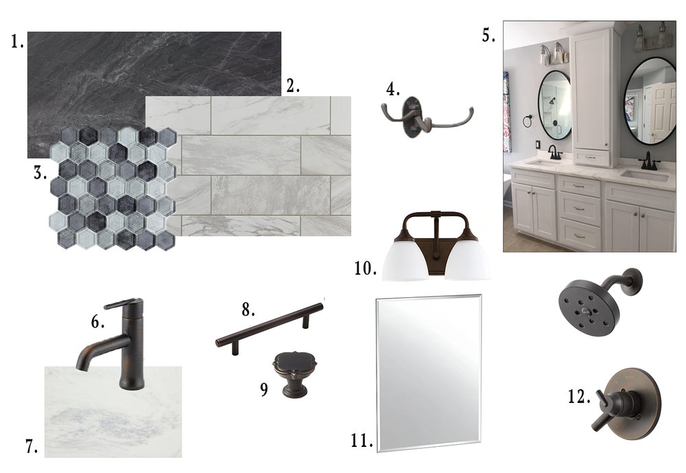1. black porcelain floor tile  2. marble art oversized subway tile  3. black and gray shower floor tile  4. cast iron wall hook  5. white shaker cabinets  6. vanity faucet  7. vanity countertops  8. drawer pulls  9. door pulls  10. vanity lights  11. vanity mirrors  12. shower hardware