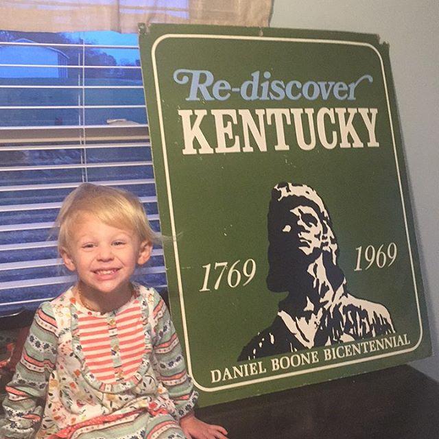 A very sweet lady gave me this cool old Daniel Boone sign today. There are some benefits to going in 10-20 houses a day. @kentuckyforkentucky