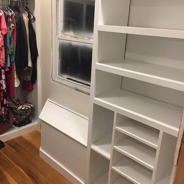 "Finished facing the shelves and got a coat of paint on Mrs. Nikki's ""shoe section"" of the closet. Need to build some trim for the window then the closet is a wrap. @dnelliott14 #happywife #tillthenextproject"