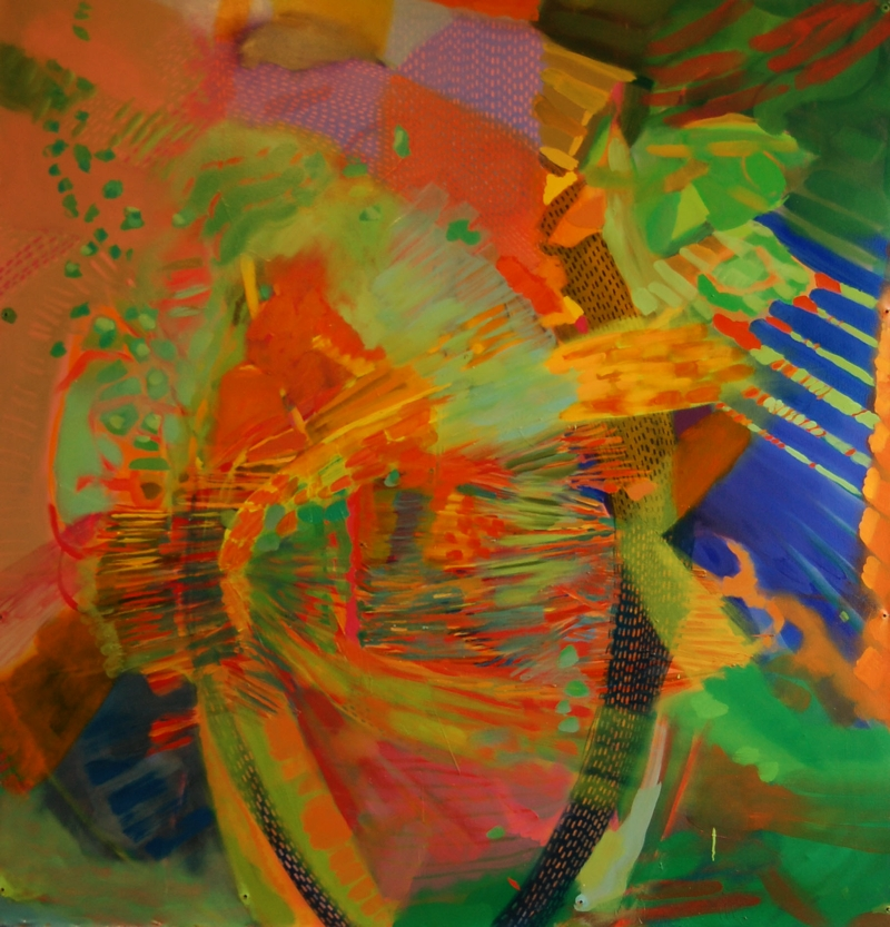 Green Piano Orange Violin, 72''x60'', oil on canvas, 2013