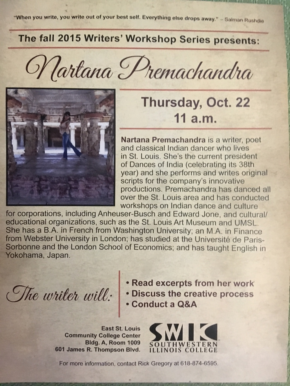 The promo flyer for my reading at Southwestern Illinois College in October 2015