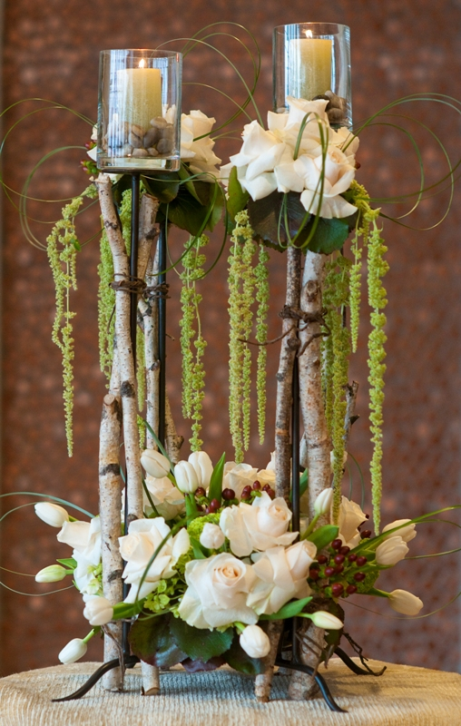Tall Arrangements with Amaranthus & Candles