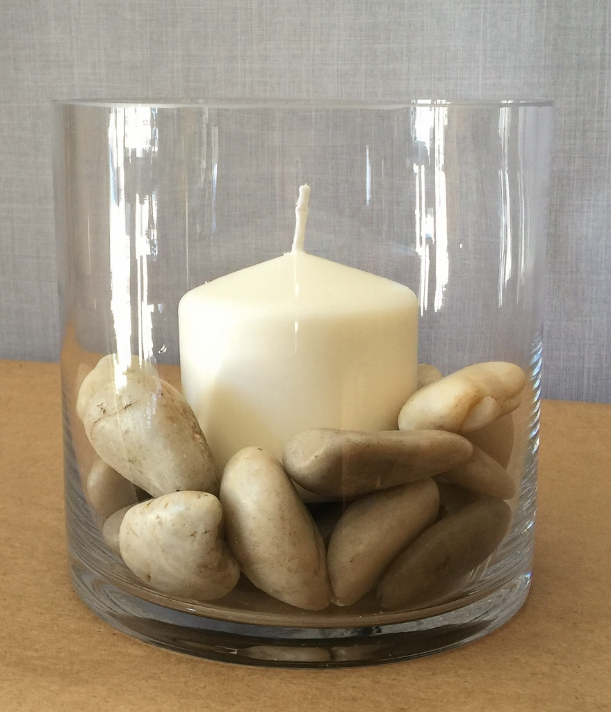 Glass Candles – 6x6 cylinder with pillar candle and river rocks