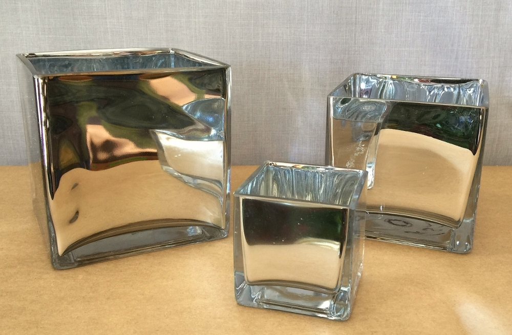 Silver glass cubes