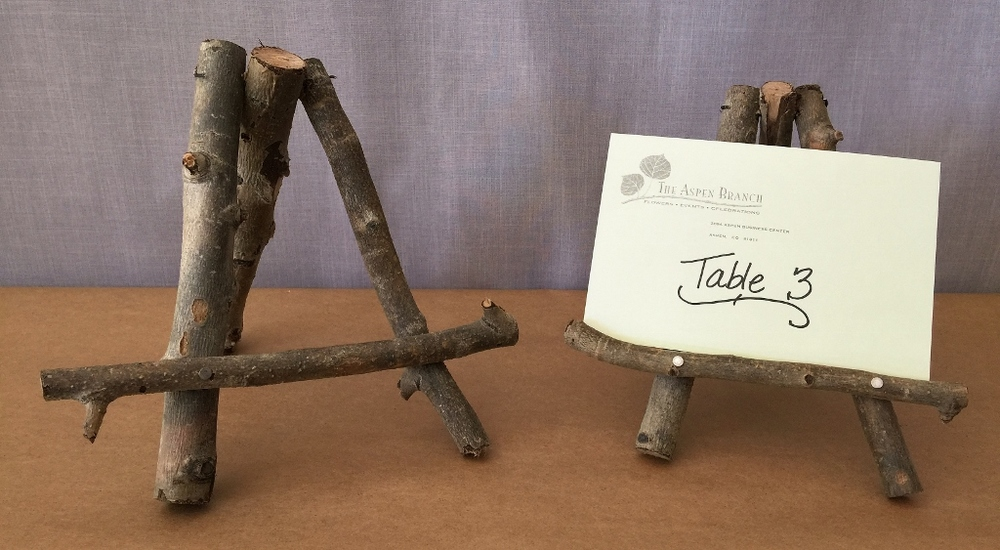 Twig easels for table numbers or menus