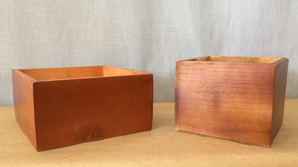 Stained wood boxes