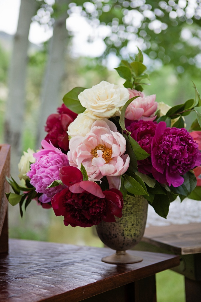 Peonies in mercury glass vase